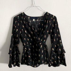 Ruffle Plant printed blouse